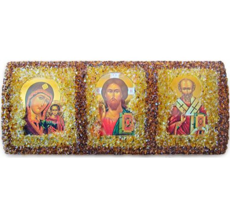 Икона из янтаря с 3 образами