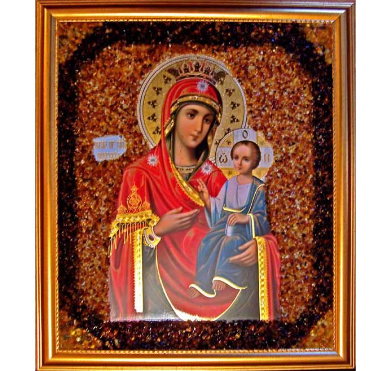 Икона из янтаря Иверская БМ