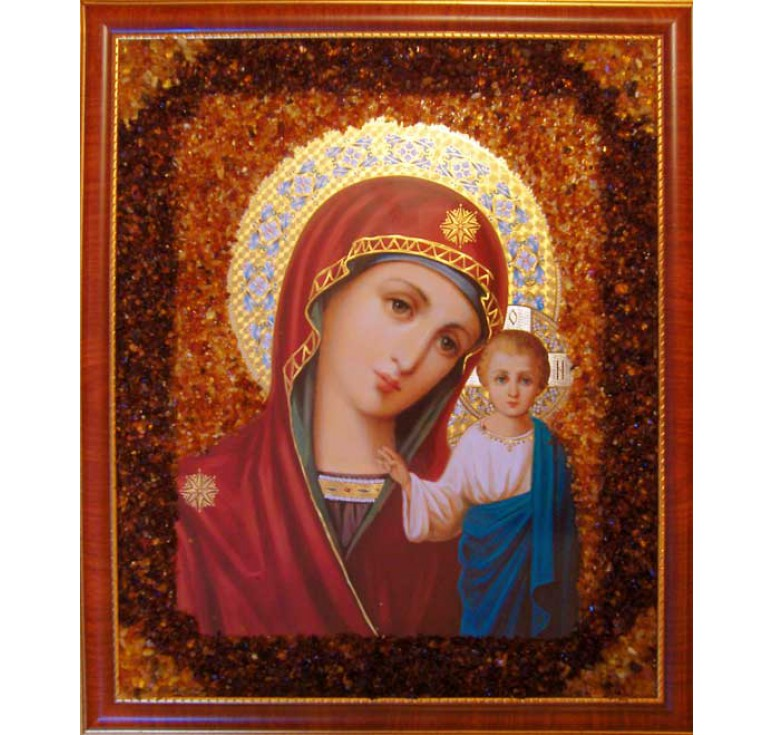 Икона из янтаря Казанская БМ