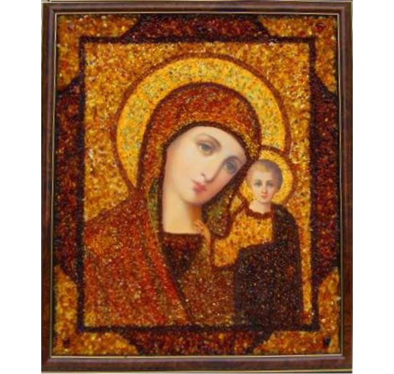Икона из янтаря БМ Казанская