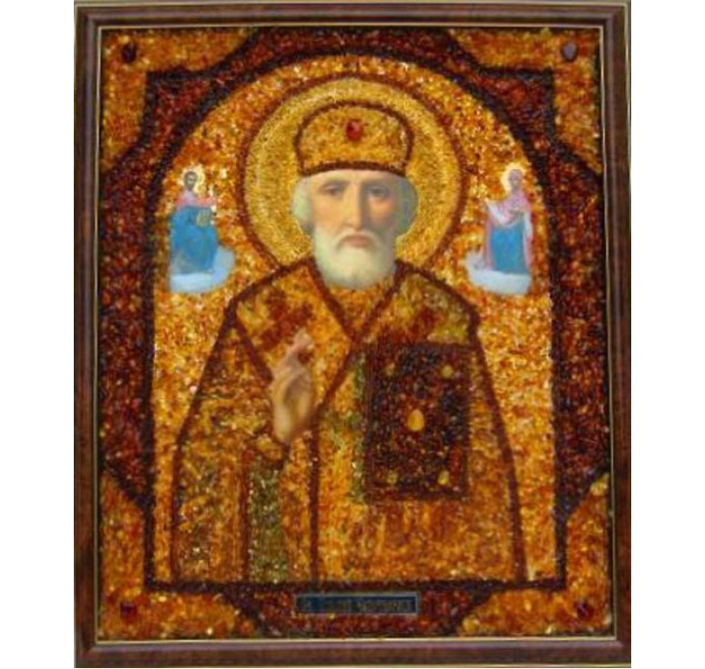 Икона с янтарем Николай Чудотворец