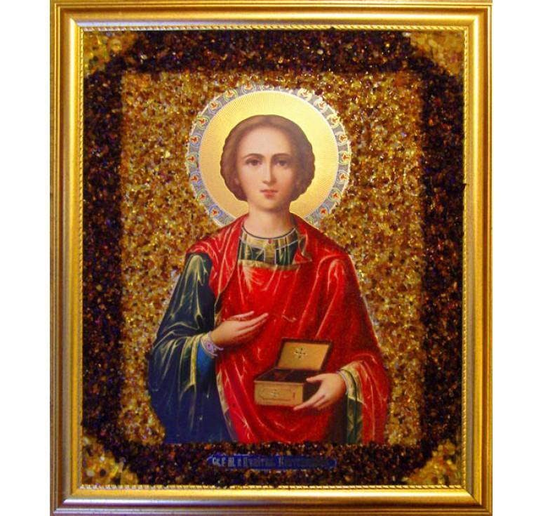 Икона из янтаря Пантелеймон Целитель