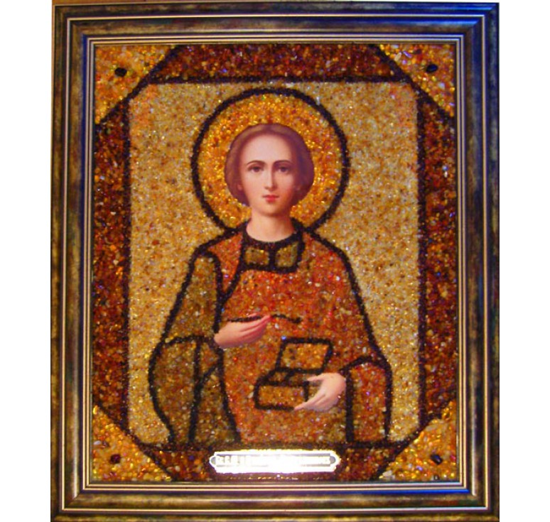 Икона из янтаря Целитель Пантелеймон