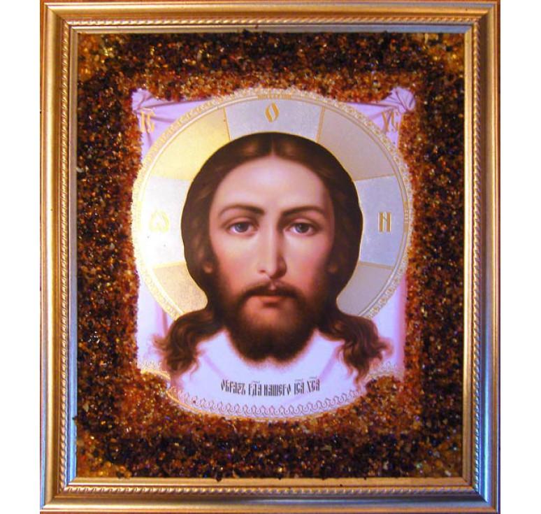 Икона из янтаря Спас Нерукотворный