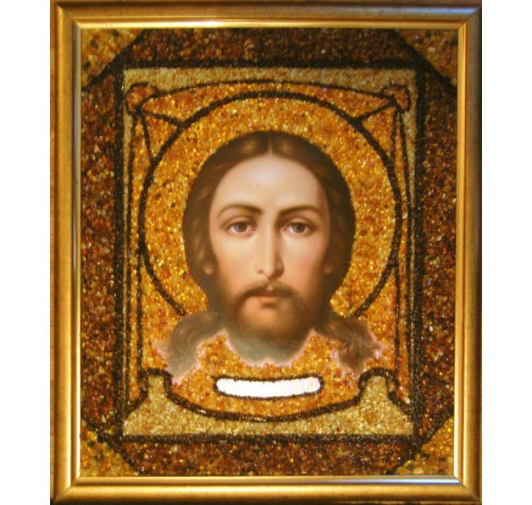 Икона в янтаре Спас Нерукотворный