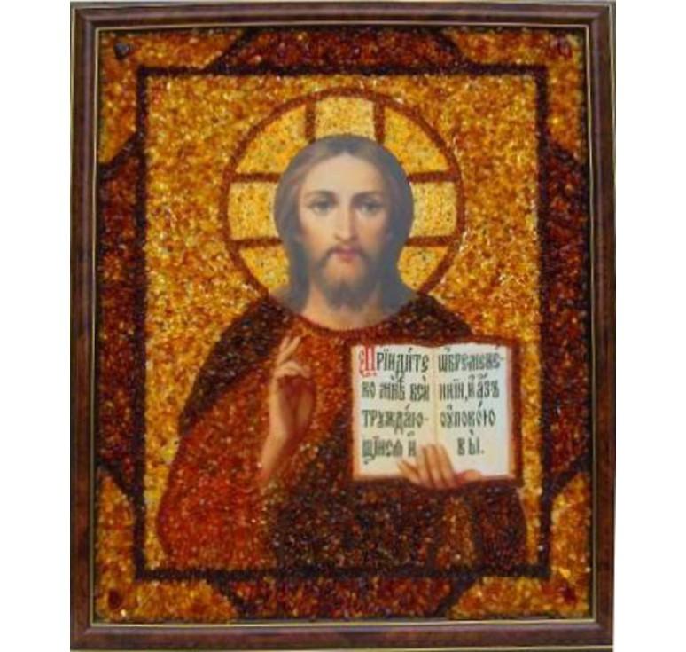 Икона в янтаре Спаситель