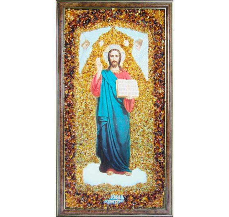 Икона Спасителя из янтаря