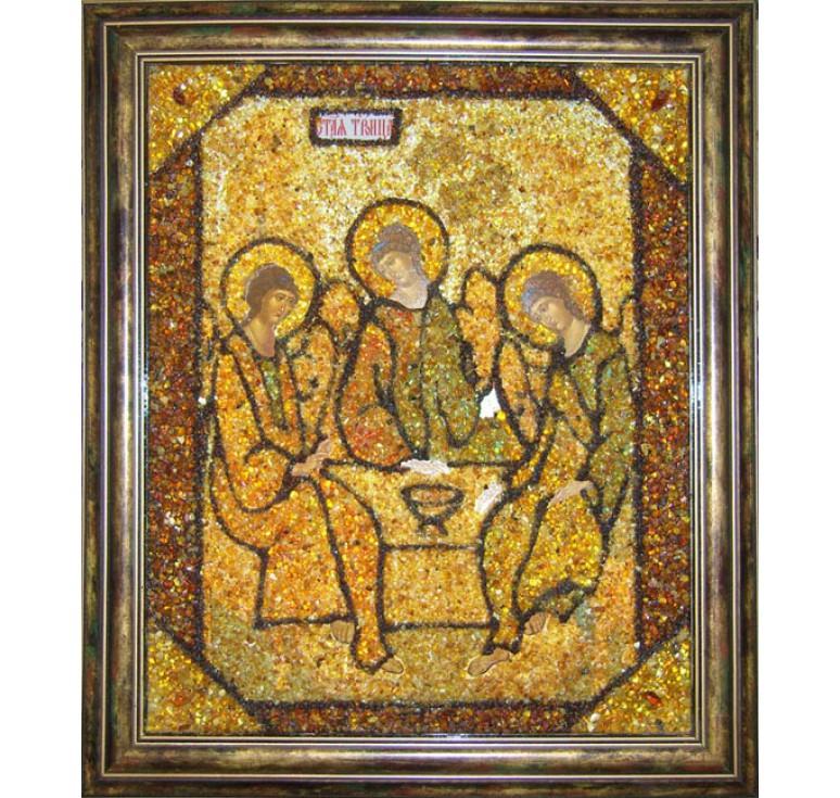 Икона с янтарем Святая Троица