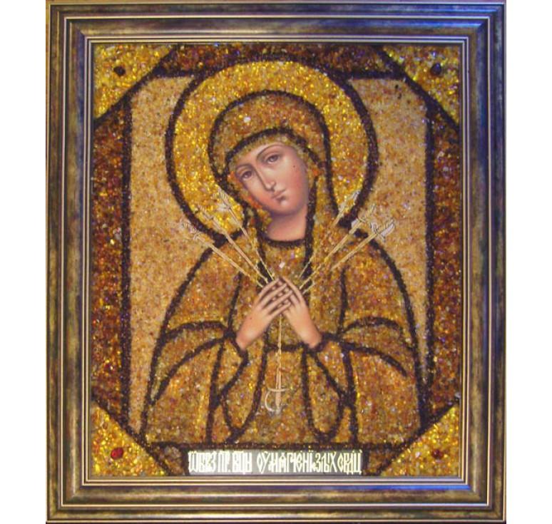 Икона из янтаря БМ Умягчение Злых Сердец