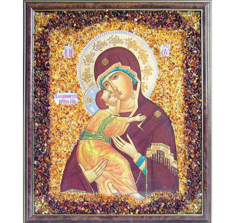 Икона из янтаря Владимирская БМ