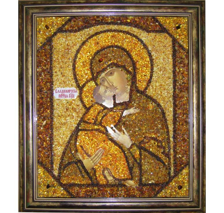 Икона из янтаря БМ Владимирская