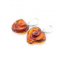 Серьги из янтаря чайного оттенка с серебром «Роза»