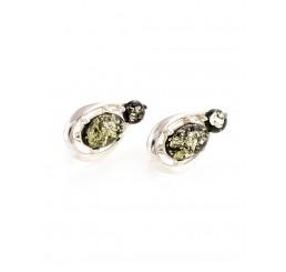 Серьги из натурального сверкающего зеленого янтаря в серебре «Пруссия»