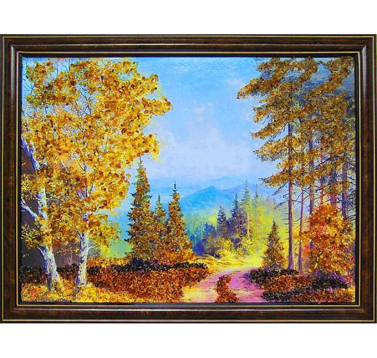 Картина из янтаря дорога в лесу