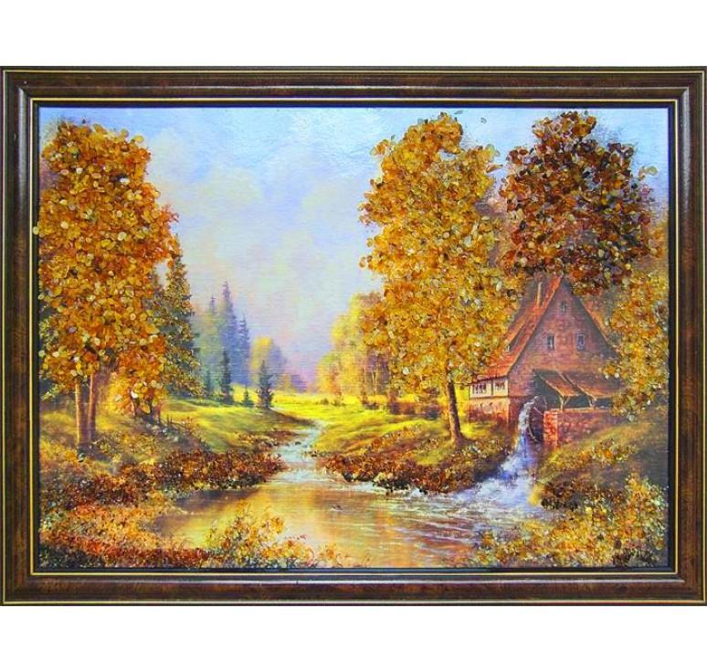 Картина из янтаря Старая мельница