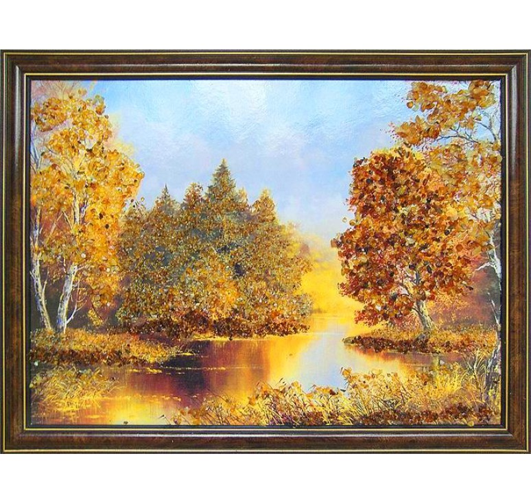Картина из янтаря Река в лесу