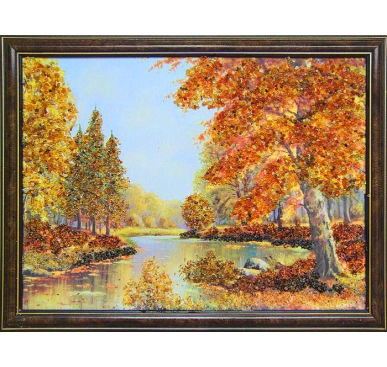 Картина из янтаря Речной пейзаж