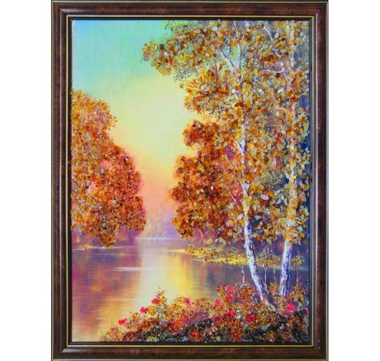 Картина из янтаря У реки