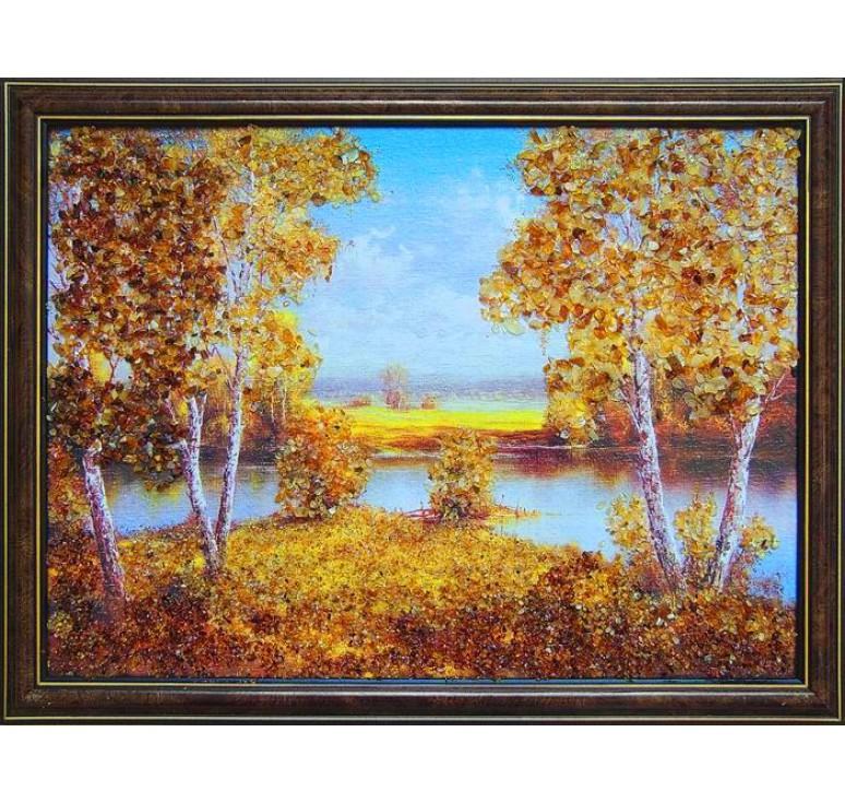 Картина из янтаря Излучина реки