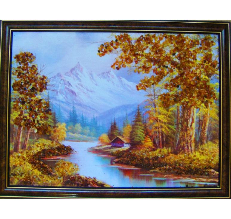 Картина из янтаря Домик у реки