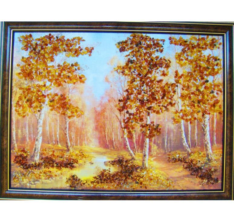 Картина из янтаря Березовая роща