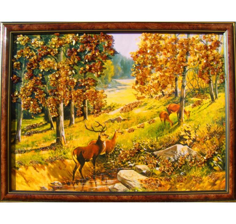 Картина из янтаря Олени в лесу