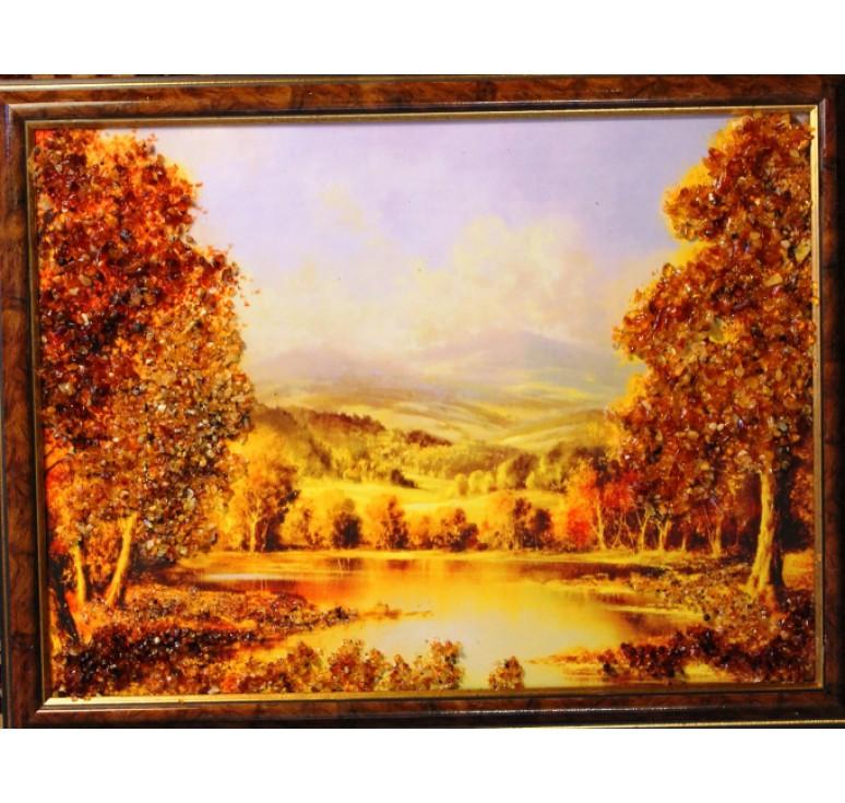 Картина из янтаря Лесное озеро