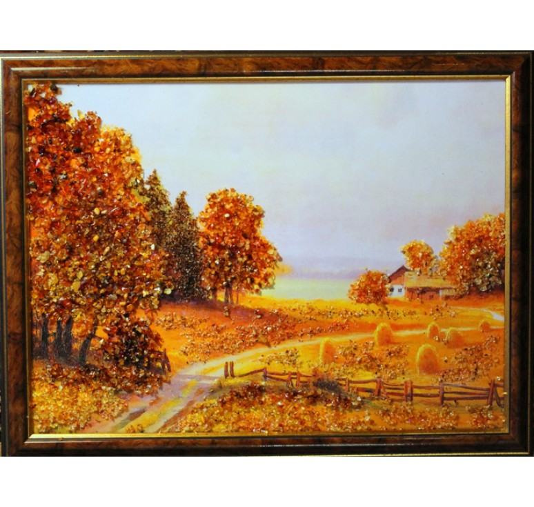 Картина из янтаря Хутор у реки