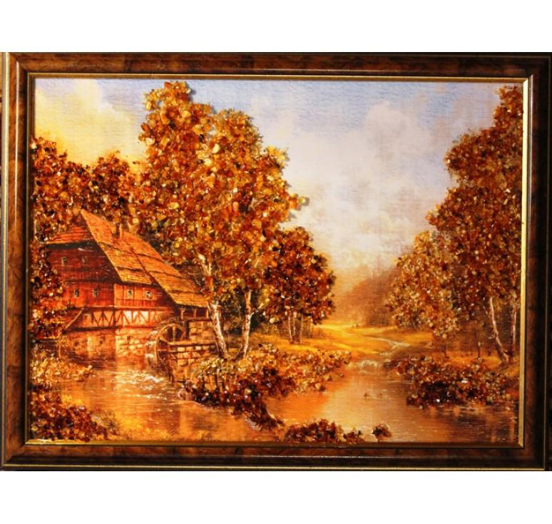 Картина из янтаря мельница