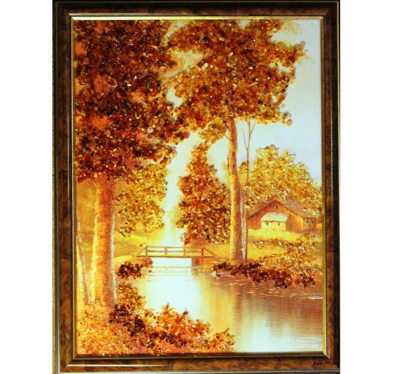 Картина из янтаря Дом у реки