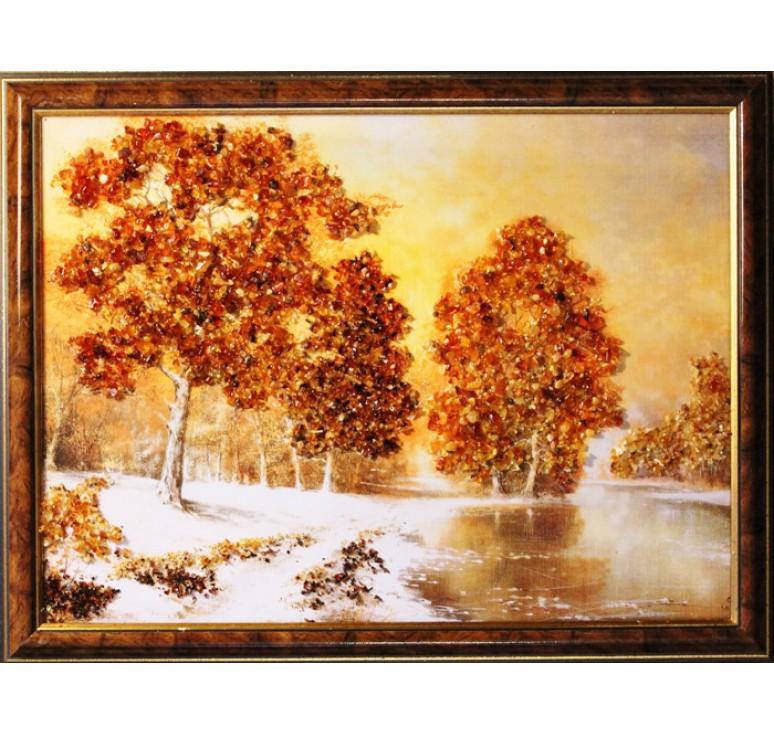 Картина из янтаря Поздняя осень
