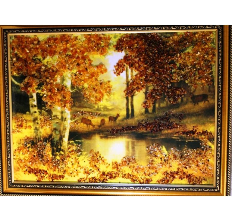 Картина из янтаря Олени на водопое